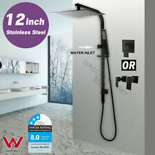 "WELS Square 12"" Rain Shower Head Brass Handheld Sliding Rail Wall Arm Set Black"