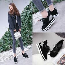 Fashion Women Wedge Heel  Lace Up High Platform Sneakers Ankle Boots Shoes