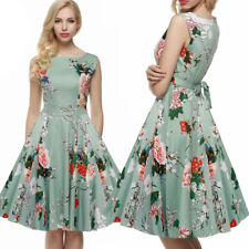 Womens 1950s 60s Vintage Dresses Floral  Rockabilly Cocktail Party Swing Dress