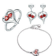 EXQUISITE HEART RED RUBY 925 STERLING SILVER RING BRACELET EARRINGS JEWELRY SET