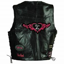 Motorcycle Ladies Vest Leather Love to Ride Biker Side Lacing Black w Pink New