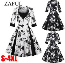 Womens 1950s 60s Vintage Floral 3/4 Sleeve Rockabilly Cocktail Party Swing Dress
