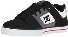 DC Pure Black Grey Red Mens Leather Skate Trainers