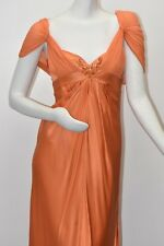 $850 New Marc Bouwer Silk GOWN & SHAWL Dress Embellished CRYSTALS BEAD Orange 6