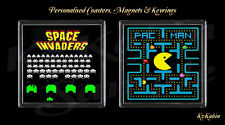 SPACE INVADERS - PAC MAN Retro Style Arcade Gaming Drinks Coaster Birthday Gift