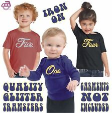 Kids Iron On Glitter Transfer Pro Cut Real Flakeless Gold / Silver Age 1-6