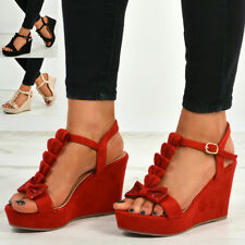 New Womens Ladies Ankle Strap Peep Toe Bow Studded Wedge Platforms Sandals Shoes