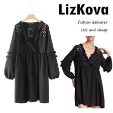 Dress Beading Long Sleeve Women Line Vintage Pearls Ruffled Party Deep V Casual
