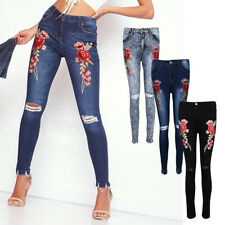 Vintage Ladies Skinny Fit Rose Embroidered Trousers Ripped Denim Jeans Pants