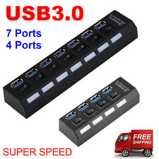 4/7Ports USB 3.0 Hub with On/Off Switch+AU AC Power Adapter for PC Laptop Lot XG