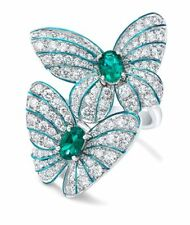Emerald Butterfly 925 Silver Jewelry Wedding Engagement Gift Ring Sz 6-10