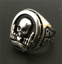 Skull Ring Silver 316L Stainless Steel Middle Finger Cool Mens Polishing Size 7
