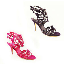 WOMENS STRAPPY CUT OUT STILETTO HEEL STUDDED ANKLE SANDALS LADIES SHOES SIZE 3-7