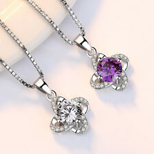 Solid 925 Silver Austrian Crystal Flower Pendant Necklace For Women Jewelry