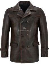 Men's Real Cowhide Leather Jacket Black Rub Off Vintage WW2 Inspired Coat Dr Who