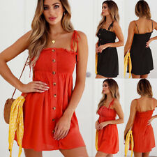 UK Womens Button Strappy Mini Dress Ladies Summer  Holiday Short Mini Sun Dress