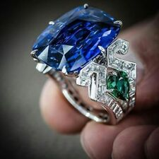 Huge Sapphire& Emerald 925 Silver Jewelry Wedding Engagement Party Ring Sz 6-10