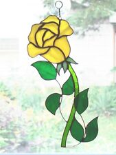 Handmade Stained Glass Flower, ROSE Yellow, SUNCATCHER R077)
