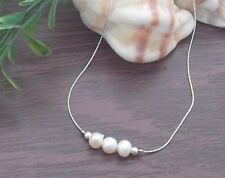 Natural Freshwater White Cream 3 Pearls Woman Necklace 925 Sterling Silver Chain