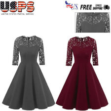 Womens Formal Bridesmaid Evening Cocktail Party Wedding Prom Gown Swing Dress US
