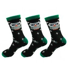 Animal Double Layer Extra Thick Soft Warm Fuzzy Non-Skid Crew Socks, 3 Pairs Owl