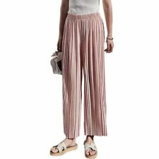 Women High Waist Pleated Chiffon Wide Leg Elastic Loose Pants Thin Crop Trousers