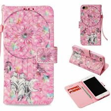 3D PU Leather Wallet Case Flip Cover Card for Phones Flower Star Dream Catcher