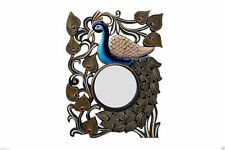 Mirror Wooden Wall Mounted Indian Designer Diwali Home Decor Frame Peacock 24""