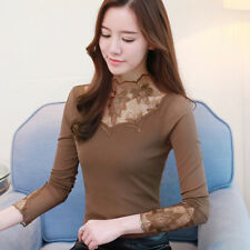 Autumn Winter Women Lace Long Sleeve Stretch Fit Slim Casual T Shirt Tops Blouse