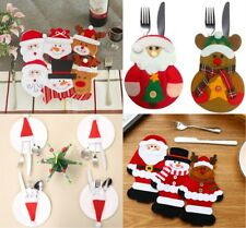 Christmas Table Decor Tableware Silverware Pockets Knifes Forks Bag Santa Claus