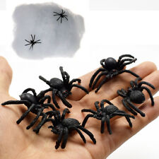 6*Plastic Spider Joking Toys Halloween Party Prank Decoration Prop With Web