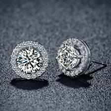 Women's 18K White Gold Plated Crystal Zircon Inlaid Ear Stud Earrings Jewelry ZH