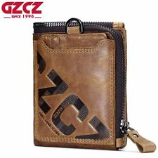 GZCZ Genuine Leather Men Wallet Fashion Coin Purse Card Holder Small Wallet Men