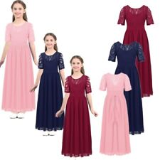 Kids Chiffon Lace Bowknot Flower Girl Dress Princess Pageant Wedding Party Gown