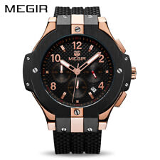 MEGIR Chronograph Sport Watch Men Creative Big Dial Army Military Quartz Watches