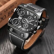 Oulm Men's Watches Mens Quartz Casual Leather Strap Wristwatch Sports Man