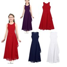 Kids Chiffon Pleated Maxi Flower Girl Dress Princess Pageant Wedding Party Gown