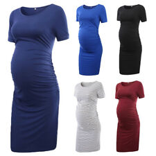Maternity Bodycon Dress Slim Fit Casual Short Sleeve Ruched Pregnancy Dresses