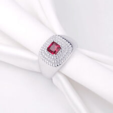 Newshe Women Gemstone Cocktail Ring Sterling Silver Princess Pink Sapphire Cz