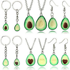 Friendship Gifts Jewelry Set Green Avocado Necklace Earring Long chain Keychain