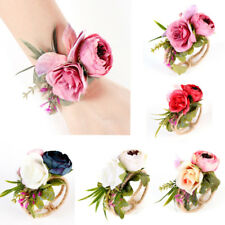 Bride Bridesmaid Wedding Party Prom Wrist Corsage Bracelet Flower Wristband Gift