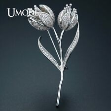 UMODE Fashion Tulip Flower Brooches for Women Costume Jewelry Wedding Bridal
