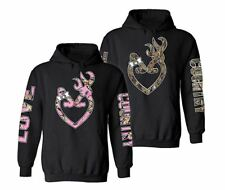 BUCK AND DOE Camo Deer Love Country Couple matching funny cute Hood Pull Over