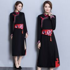 Lady Embroidered Long Sleeve Dress Cheongsam Chinese Qipao Black Ethnic Gown New