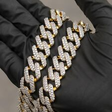 18k Gold Iced Out Dagger Cuban Link Chain