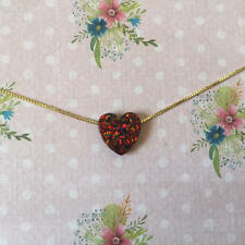 Heart Shaped Gold Plated Choker Necklace Red Opal Pendant Charm Love Jewelry