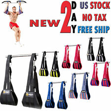 Curl Bar Pull Up Ab Straps Hanging Exercise Fitness Abdominal Crunch Workout Gym