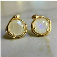 Simple Women 18K Gold Plated Round Cut Moonstone Gecko Stud Party Gift Earrings