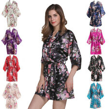Women's Floral Silk Satin Robes Bridal Wedding Bridesmaid Bride Gown Kimono Robe