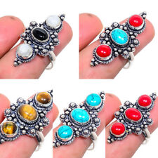 Handmade Cabochon Gemstone Silver Plated Fashion Jewelry Ring Size Adjustable